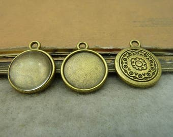 20 pcs 14mm Antique Bronze  Cameo Cabochon Base Setting Tray Blanks Pendants Charm Pendant C5081
