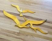 Mid Century Brass Flock of Seagulls Modern Brass Decor Minimalist Flying Birds