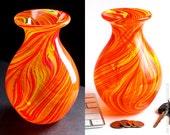 Handblown Glass Vase with Bright Yellow Orange and Red Swirls
