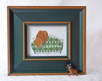 Buffalo on couch, Home Sweet Home, Giclee print in, green frame,Susan Sanford Art