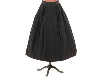 Vintage 1950's Black Taffeta High Waist Preppy Button Full A-line Rockabilly Party Pin Up Skirt S