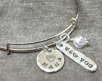 Nana Bangle Bracelet, Adjustable Charm Bracelet, We Love You, Nana Bracelet, Grandma Gift, Grandmother Jewelry, Nana Bangle, Nana Gift
