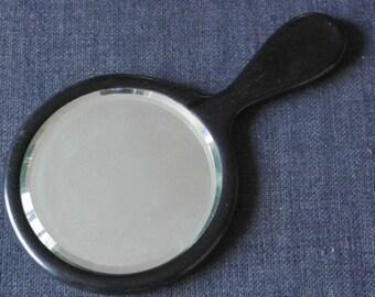 antique ebony wood hand mirror