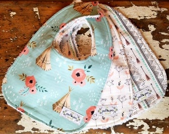 Baby Bibs for Girl - Desert Collection Teepees, Bloom and Arrows - Set of 3 - Aqua Mint, Coral, Black