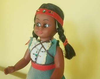Indian Doll - Native American Princess - Baby Papoose on Back