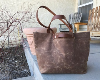 Waxed Canvas and Leather Weekender- Travel Bag- Duffle Bag- Luggage- Weekend Bag
