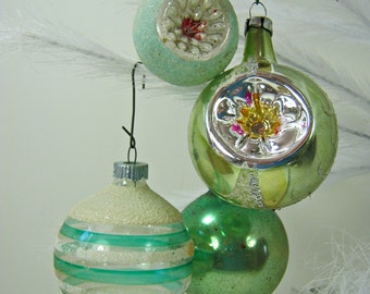 Vintage MERCURY GLASS ORNAMENTS Set/4 Sage Green INDeNTS & Snow Christmas Tree