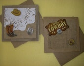Rodeo Cowgirl or Rodeo Cowboy Handmade Square Card, burlap and cardboard or kraft paper, blank card greeting card
