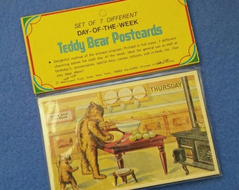 Day of the Week Teddy Bear Postcards, complete set new in package, vintage Merrimack reproduction replicas