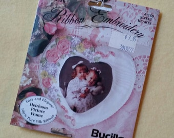 Vintage Silk Ribbon Embroidery Kit, Sweet Hearts Heirloom Picture Frame, Bucilla 41159, new in package NIP, 100% silk ribbon