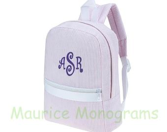 Personalized Seersucker Toddler Backpack, Booksack, or Diaperbag  Light Pink & White Great Multi Purpose Bag Monogrammed FREE