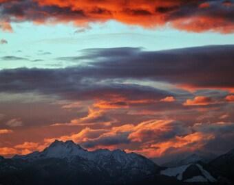 Mountain Sunset Photo, Olympic Mountains Sunset Canvas, Mountain Sunset Print, Snow capped mountains sunset, washington art