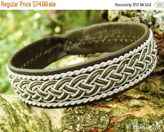 GIMLE Viking Sami Bracelet Cuff Handcrafted Swedish Lapland Olive Green Leather Bracelet with Pewter Braid and Antler Closure