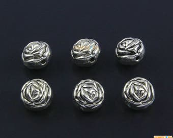 30Pcs Antique Silver Rose Flower Bead Rose Charm Rose Bracelet Bead Flower Pendant 10x8.5mm (PND1537)
