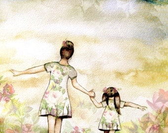"""Mother and daughter """"our path"""" art print with roses, gift idea mother's day"""