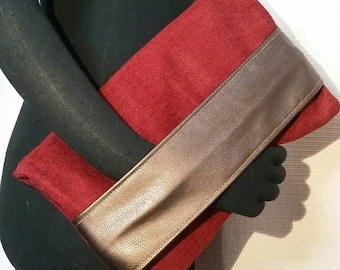 Clutch, Luscious Foldover Red Clutch, Bronze Faux Leather Arm/Hand Band, Upholstery Red Velvet