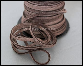 DESTASH Sale 5 Yards Genuine SUEDE Cord - Vintage LIGHT Brown 15 feet 3x1.8mm Distressed Split Suede Leather Natural Dye Color Lace Cording