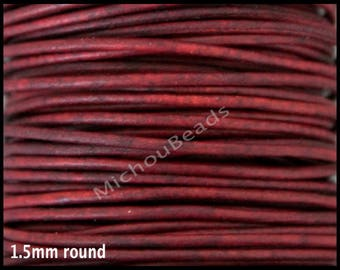DESTASH 5 Yards 1.5mm Distressed BURGUNDY Red Round Genuine Natural LEATHER Cord - Indian Boho Leather Cord By the Yard - Instant Ship - Usa