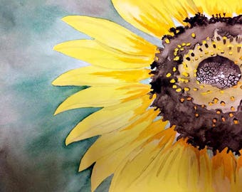 Watercolor painting of large sunflower, sunflower art, decor, summer flower artwork