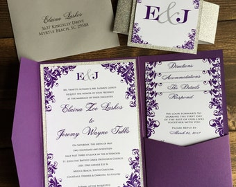 Pocketfold Wedding Invitations - Wedding Invitations - Silver Glitter Wedding Invitation - Purple Wedding Invitations - Pocket Invitations