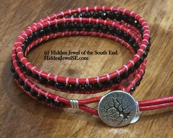 Red and Black Faceted Onyx Leather Wrap Bracelet, Similar to ChanLuu twice around cuff, red bracelet, red leather wrap (WR97)