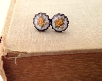 Yellow Rose Post Earrings.  Repurposed Vintage Glass.  Brass Earrings.