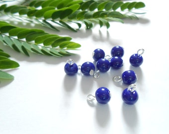 Navy Blue Opaque Dangle Beads