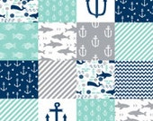 Baby or toddler blanket Adventure blanket, faux fur,mint, gray and navy, anchor,fish,chevron, nautical, quilt, fishing
