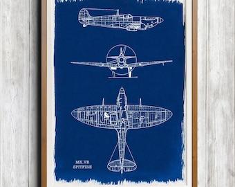 Spitfire Mk. VB A4 Hand coated traditionally made cyanotype blueprint