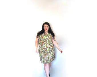 SALE Plus Size Vintage 1960's Silk Sheath Dress Size XL