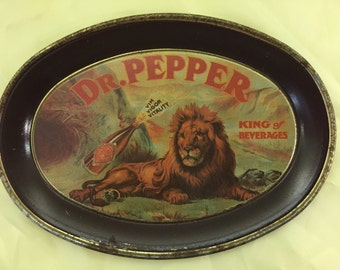 Vintage 1979 Dr. Pepper Lion - King of Beverages Ad Tin.  Small 6 Inch Reproduction Oval Tins