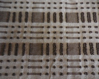 "Morgan Jones Mocha BROWN Dots Dash Vintage Chenille Bedspread Fabric - 21"" X 25"" - Brown Chenille BUTTONHOLES, Squares and POPS Fabric"