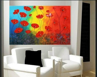 "SALE Original 36"" gallery canvas Abstract painting,Original contemporary Red Poppies,lots of texture by Nicolette Vaughan Horner"