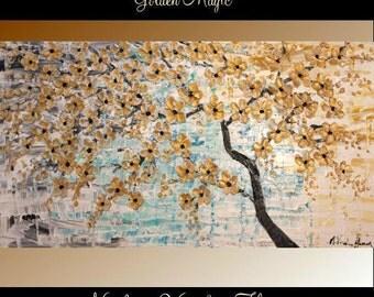 """60"""" Oil Landscape Contemporary Modern palette knife Art Golden Cherry Blossom Tree impasto oil painting by Nicolette Vaughan Horner"""