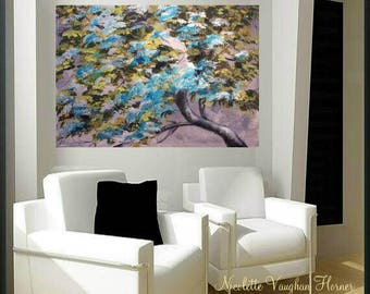 "Large  Oil Landscape Abstract Original 40""tree Of Life palette knife impasto oil painting by Nicolette Vaughan Horner"