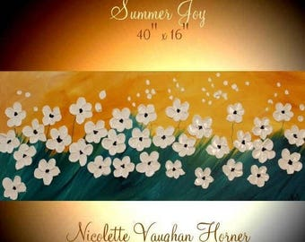 "2DAY SALE ORIGINAL 40""Abstract Acrylic gallery canvas-Contemporary Modern Palette Knife Impasto painting ""Summer Joy"" by Nicolette Vaughan H"