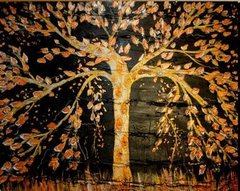 """Enormous Original Art,Organic,Textured, Contemporary Modern mixed media impasto """"Tree Of Secrets"""" oil  painting  by Nicolette Vaughan Horner"""