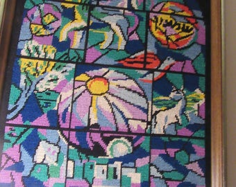 COME To My WINDOW / Stunning Marc Chagall Window Needlepoint / Shades Of Purple