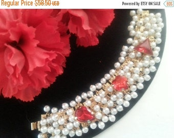 Christmas Sale Cha Cha Bracelet * Faux Pearl & Red Rhinestone Bracelet * 1950's 1960's Vintage Jewelry * Mad Men Mod * Old Hollywood Glamour