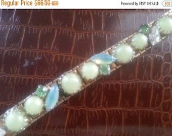 Rhinestone Bracelet * 1950's Hollywood Regency Jewelry * Mad Men Mod 60's Style Retro Collectible Jewelry