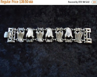 Now On Sale Vintage Silver Bracelet 1950s 60s 70s Mad Men Mod Old Hollywood Glam
