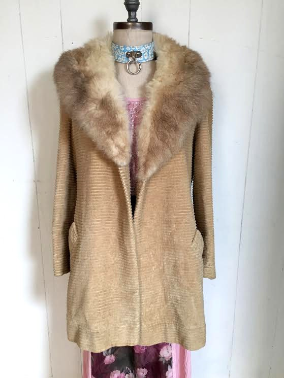 Vintage Camel Fur Trim Arabian Almost Famous Bohemian Penny Lane Coat