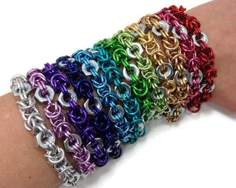 Upcycled Stainless Steel Hex Nut Chainmaille Bracelets
