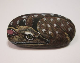 Fawn Deer hand painted on a stone - pet rock - by Ann Kelly