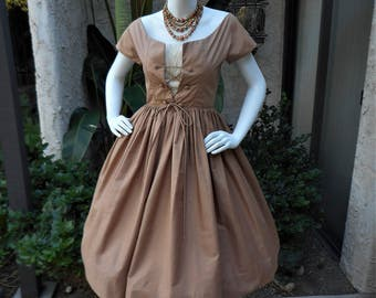 Vintage 1950's Lou-Ette Brown Dress with Lace Up Bodice - Size 00