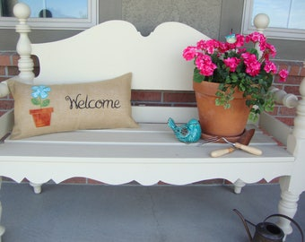 Bench Welcome Burlap Throw Pillow Cover 14 BY 28 Size Gift Flower Welcome Bench Mothers Day Pillow Machine Embroidered Grannies Embroidery