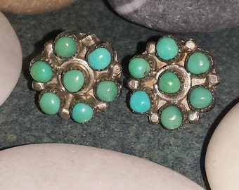 Vintage Green Turquoise and Silver Petit Point Stud Earrings