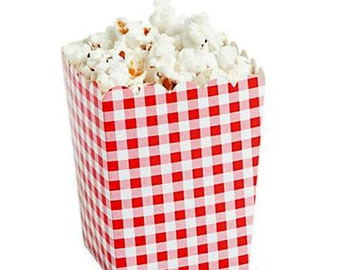 Gingham Boxes Gingham Decorations 6 Gingham Popcorn Boxes or Food Containers Barbecue Tableware Picnic Tableware Party Favors Red Gingham