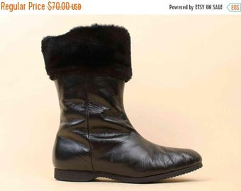 25% OFF 1DAY SALE 50s 60s Vtg Black Genuine Leather & Wool Lined Fur Cuff Tall Ankle Boot / Weather Resistant Mod Pin Up Almond Toe 6 Euro 3