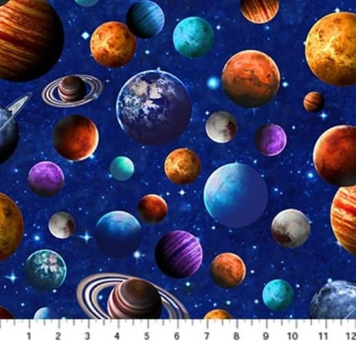 Across the universe northcott by the yard cotton quilt for Space minky fabric